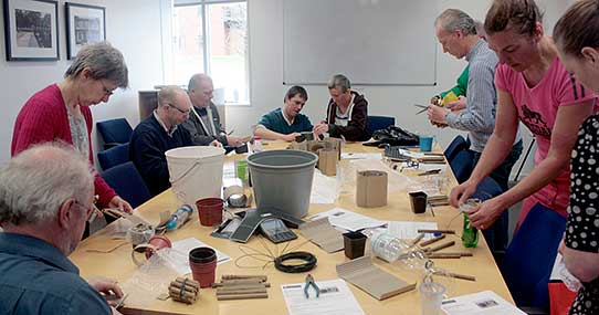 UIS staff spent a lunchtime making homes for the West Cambridge bees to lay their eggs in