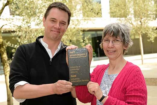 Al Kitching and Clare Bartlet from UIS' Green Team collected the Gold award
