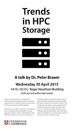 Trends in HPC Storage talk, Dr Peter Braam